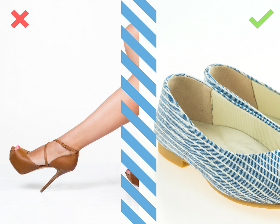 utiliza zapatos bajos